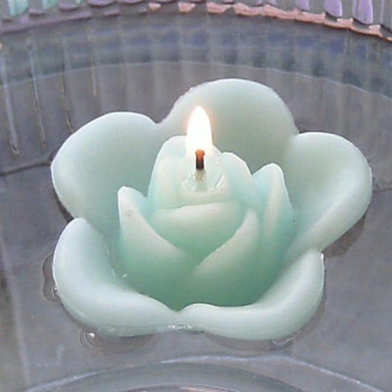 12 Mint green floating rose wedding candles for table centerpiece and reception decor.