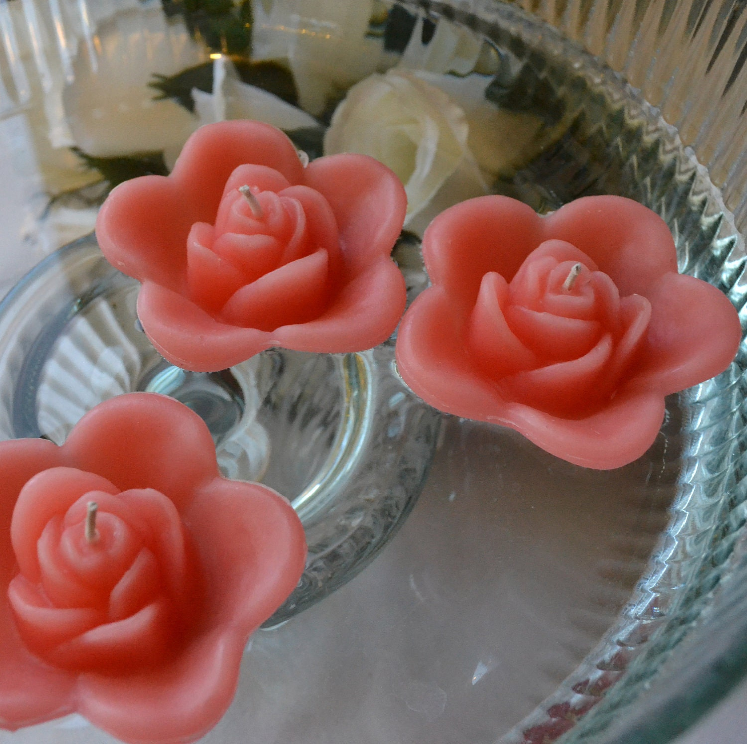 Floating Rose Centerpiece: 12 Coral Reef Floating Rose Wedding Candles For By