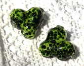 Amazon Forest Gems Heart Lampwork Focal Bead Pair (2) Laura's Etsy