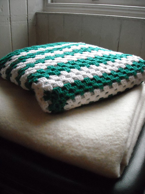Crochet Green And White Striped Blanket Or Throw