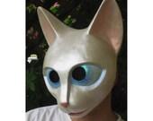 Pearl White Paper Mache Cat Mask