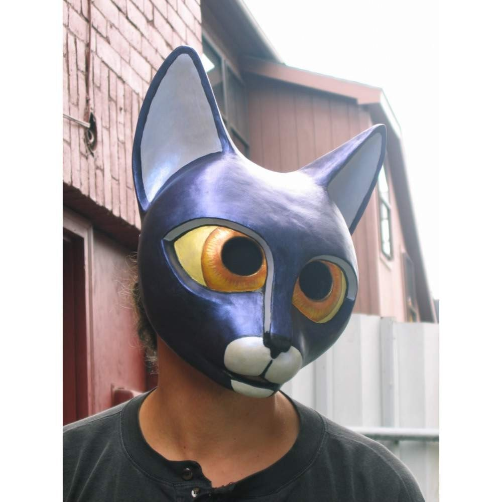 Black halloween cat mask paper mache for Paper mache mash