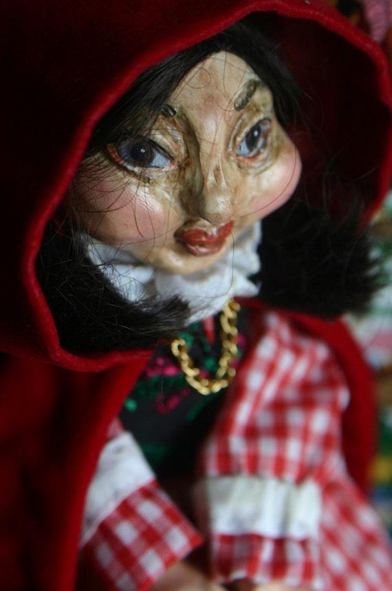 Little Red Riding Hood topsy turvy art doll by artist Sherry Westfall Matthews