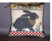 Counted Cross Stitch Ornament Completed Country Fair RABBIT