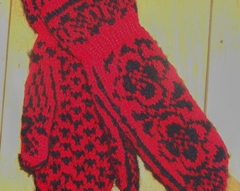Handknit Mohair and Wool Blend Cuff Mittens in Red and  Dark Navy