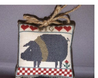 Counted Cross Stitch Ornament Completed Country Fair PIG