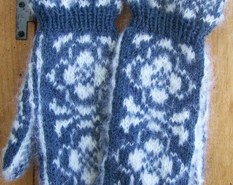 Handknit Mohair and Wool Blend Cuff Mittens Country Denim Blue and Winter White