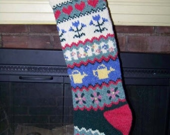 Handknit Christmas Stocking - exclusive design Gardener's Delight