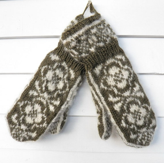 Handknit Mittens Mohair and Wool Blend Cuff Mittens in Loden Green and Creamy White