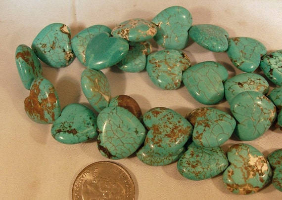 Blue Dyed Turquoise Heart Beads 12 Pieces D590KH