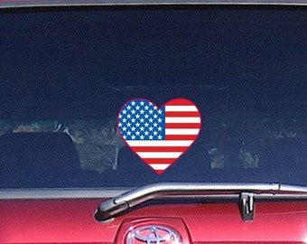 "Car Decal American Flag Heart Patriotic Stars Stripes Decal Full Color Digital Print 6"" Vinyl Sticker"