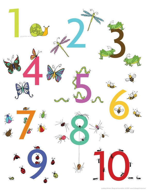 Insect Numbers Poster 11x14 Print