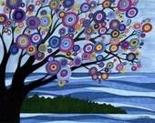 Door County Getaway Mixed Media Art Print, landscape, tree, water, vacation, wall art