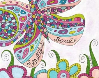 Beautiful Soul Note Cards, Inner Beauty, Joy, Metamorphosis, Butterfly