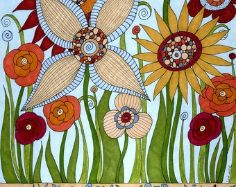 Garden of Compassion mixed media art print, whimsical with text, garden, flowers