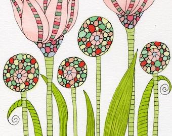 Spring Pink Garden Note Cards, Floral, Garden, Mixed Media Art