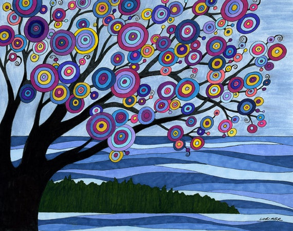 Door County Getaway Mixed Media Art Print, landscape, tree, water, vacation, wall art