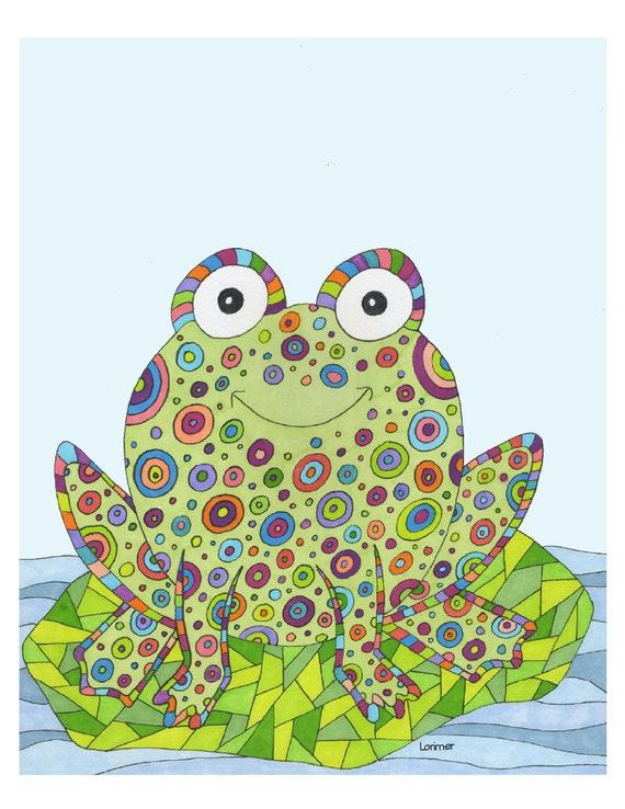 Frog Child's Room Print. Animal Print. Child or Baby Room Print.