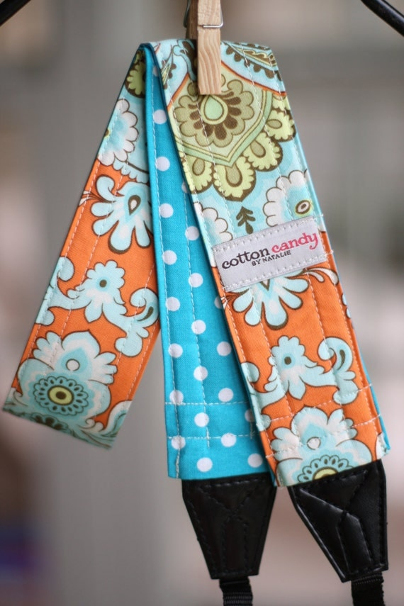 Orange Wallpaper and Blue Dots Reversible Camera Strap