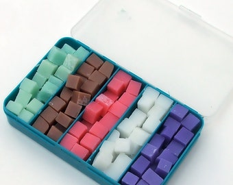 Cloth Wipe Bit Solution Cubes Sampler (blue box) -  120 cubes, one soap bit box! Choose your own scents