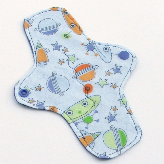 SALE - ULTRATHIN Pantyliner 8 Inch WeeEssentials Mini Pad with wings for Every Day - Spacey Aliens