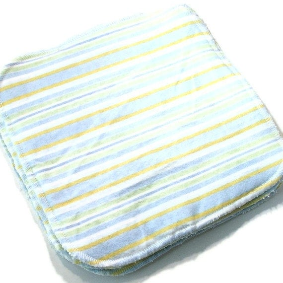 8 by 8 inch Serged Cloth Wipes/Washcloths -Pastel Blue Stripes - Flannel/Baby Terry- set of 4