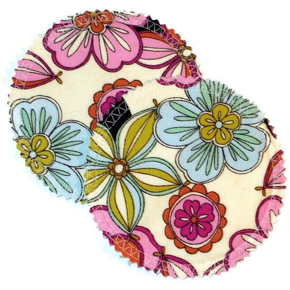Reusable Cloth Nursing Breast Pad Set in Bamboo/Organic Cotton with Waterproof PUL - Floral Frenzy