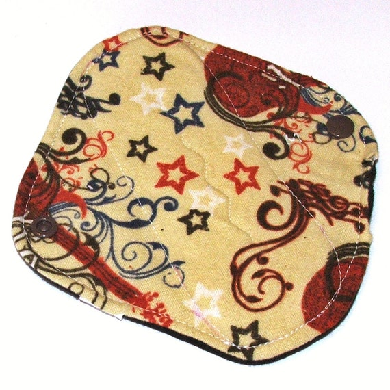 MEDIUM Flow Reusable Cloth Menstrual Pad with wings - 6 inch with waterproof PUL- Rock n Roll