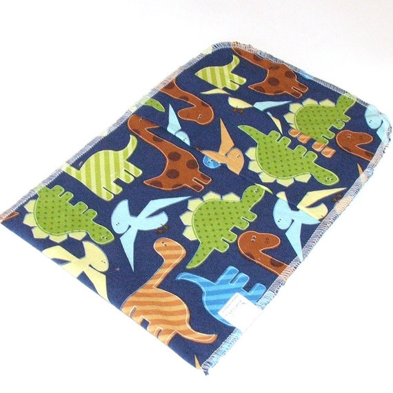 Medium Reusable Sandwich Bag- Food Baggie with pleated fold over closure - Blue Dinos