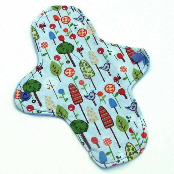 Reusable Cloth ULTRATHIN Pantyliner 8 Inch Mini Pad with wings for Every Day - Forest Friends by Heidi Grace- Quilters Cotton Top