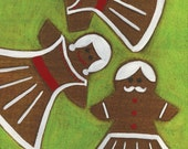 Gingerbread Men in Skirts Painting Holiday Fine Art Print