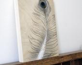peacock feather original art painting woodburning