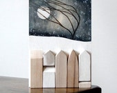 original art winter snow moon landscape wood sculpture wall art