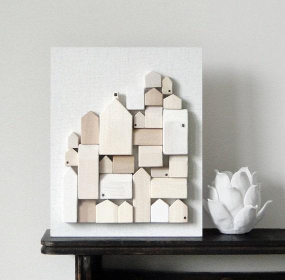 RESERVED - original minimalist wood wall art - winter white architectural houses design art