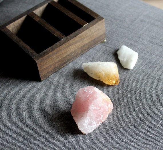 One of a Kind Wood Shelf Rose Quartz, Citrine and White Calcite Mineral Stone Collection