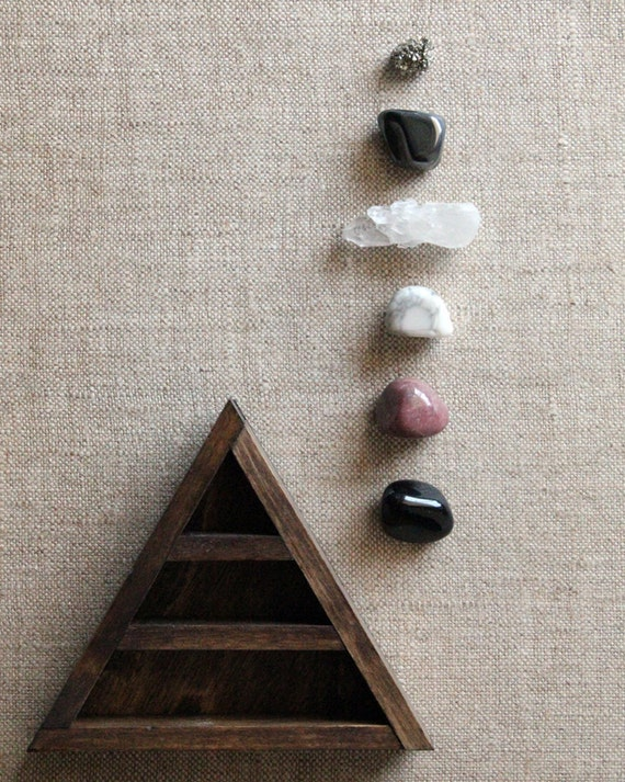 Stone Set and Triangle Wood Curio Shelf - Crystal Mineral Set Number 19