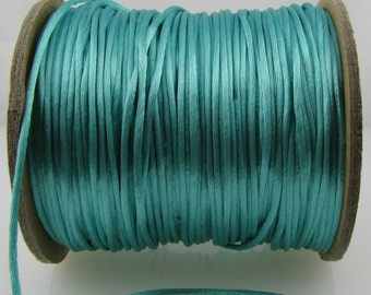 10 yards  2mm  Turquoise Satin Rattail Cord