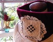 velvet lace cowl SALE victorian baroque scarf belle epoque french lace cranberry