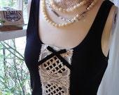 paris christmas top SALE Clearence vintage french lace tank top blouse shirt  black white velvet bow medium