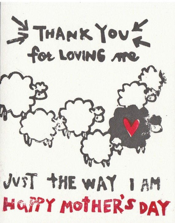 Hand printed black sheep mother's day card