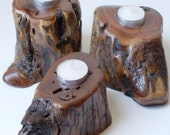 Mesquite Wood Candle Holder Trio Set