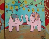 Love Under The Big Top Pink Elephants 4 x 4 Original Painting on Canvas