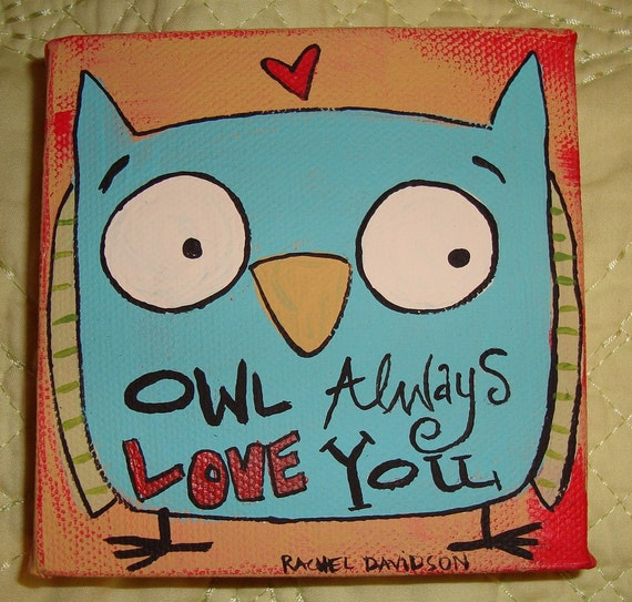 Owl Always Love You 4 x 4 Original Painting on by 3BearsStudio