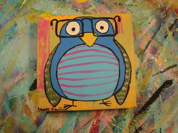 Bird Four Eyes 4 x 4 Original Painting on Canvas
