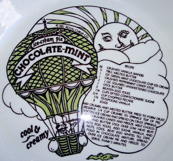 SALE Vintage Country Harvest Pie Plate with Chocolate Mint Ice Cream Pie Recipe