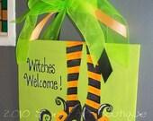 Halloween Door sign, Halloween Canvas art, Door sign, Witch, Stockings, Shoes, Green, Orange, Halloween door hanger, witches Welcome,
