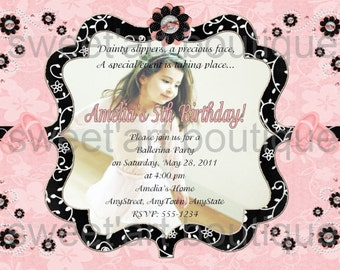 Ballerina Ballet Custom Party Photo Invitation design DIY you u print digital Printable birthday tutu dance recital girl pink black white