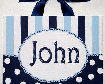Personalized Navy White Light Blue Stripe Dot Custom canvas letter name sign wall decor monogram art children hand painted boy baby nursery