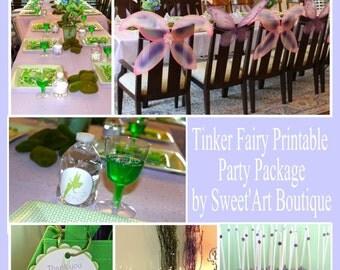 Tinkerbell Party Kit, Tinker Fairy, DIY Printable, lavender, green, Party decorations, Party supplies, Digital Files, Print at home, package