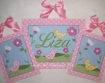 Birds, Flowers, Canvas name sign, Nursery wall art, Birds nursery art, Pink, aqua, Personalized art, girls birdie nursery, pink nursery art